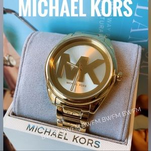 NWT Michael Kors gold tone logo watch